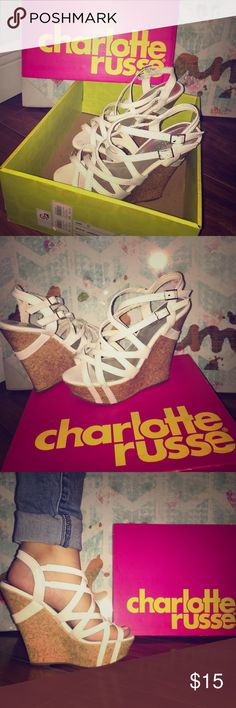 Charlotte Russe strapped wedge Charlotte Russe white strappy wedge                                  Style: Kendall-09.                                                                   Color: white Charlotte Russe Shoes Wedges