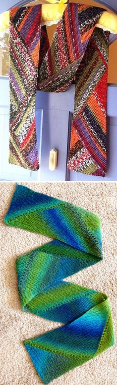 Free Knitting Pattern for Reversible Multidirectional Diagonal Scarf - Knit in garter stitch and short rows that shape the triangles this is perfect for showcasing variegated or sock yarns. Designed by Karen Baumer. Pictured projects by Godzilla and iknit4joy