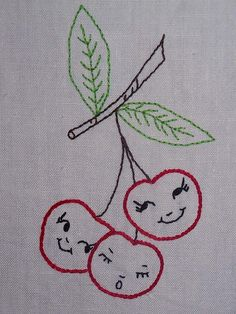 retro cherries by Melys Hand-Embroidery, via Flickr