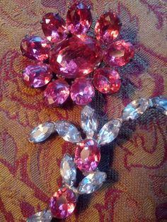 Large Vintage Pink and Clear Rhinestone by VansVintageTreasures, $84.00