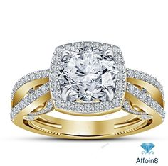 2.56 CT Round Cut Diamond 925 Silver Split Shank Frame Engagement Ring Size 5-12 #Affoin8 #SolitairewithAccentsEngagementRing