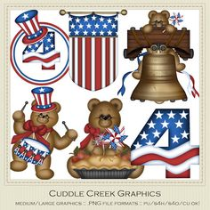 Independence Day Clip Art - Exclusive Cuddle Creek