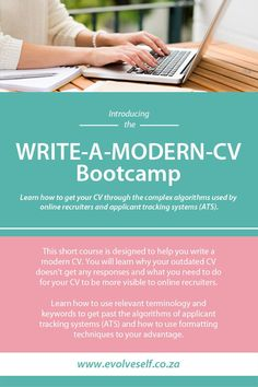 WRITE-A-MODERN-CV Bootcamp Learn how to get your CV through the complex algorithms used by online recruiters and applicant tracking systems (ATS). Cv Writing Service, Writing Services, Resume Design, Resume Cv, Writing A Cover Letter, Professional Cv, Short Courses, Current Job, Tracking System