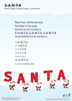 """Lyrics poster for """"S-A-N-T-A"""" Christmas song from Super Simple Learning. #kidssongs #kindergarten #ESL"""