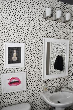 JWS Interiors - bathrooms - Made by Girl Sitting Cheetah, Made by Girl Lips, Thibaut Tanzania Wallpaper, powder room, powder room wallpaper, bathroom art, over the toilet art, above the toilet art, beveled mirror, white beveled mirror, pedestal sink,