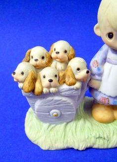Precious Moments God Loveth A Cheerful Giver 1977 Johnathan David Puppies Girl