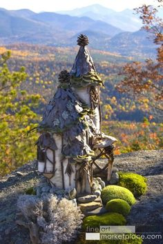 """♧ Charming Fairy Cottages ♧ garden faerie gnome  elf houses  miniature furniture - """"Adirondack Faerie House"""" © by Sally J. Smith"""