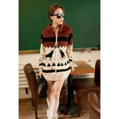 $18.07 Stand Collar Deer Snowflakes Batwing Sleeve Cardigan For Women