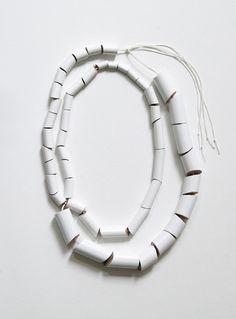 Djurdjica Kesic - Meanders necklace, pine, enamel paint, and silk