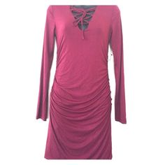 1️⃣NWT ReneeC. Fitted long sleeve dress Maroon in color. Boutique Dresses Long Sleeve