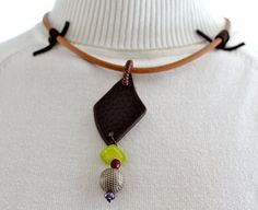 African Tribal Necklace / Ethnic Jewelry Leather by JewelMeShop, $43.00