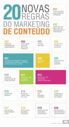 20 regras do #marketing de conteúdo #Infografico #engajamento