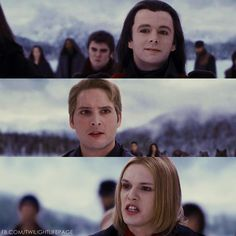 Carlisle: Aro, let us discuss things as we used to, in a civilized manner. Aro: Fair words, Carlisle. But a little out of place given the battalion you've assembled against us. Carlisle: I can promise you, that was never my intent. No laws have been broken. Caius: We see the child, do not treat us as fools. Carlisle: She is not an immortal! These witnesses can attest to that. You can look. See the flush of human blood in her cheeks. Caius: Artifice!