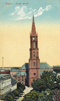 Kościół Łaski (Evangelische Kirche, Gnadenkirche), Żagań - 1915 rok, stare zdjęcia San Francisco Ferry, Minecraft, Building, Travel, Viajes, Buildings, Destinations, Traveling, Trips