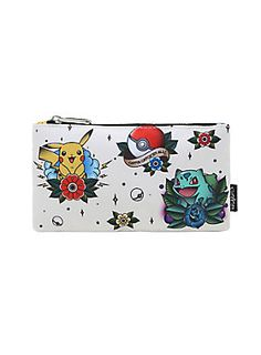"<div>Keep your drawing pencils safe and sound and draw some inspiration from this pencil case from Loungefly and <i>Pokémon</i>. It features an allover print of <i>Pokémon </i>starters in tattoo flash style. </div><div><ul><li style=""list-style-position: inside !important; list-style-type: disc !important"">Nylon</li><li style=""list-style-position: inside !important; list-style-type: disc !important"">8"" x 4 1/2""</li><li style=""list-style-position: inside !important; list-style-..."