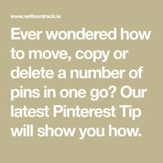 Ever wondered how to move, copy or delete a number of pins in one go? Our latest Pinterest Tip will show you how.