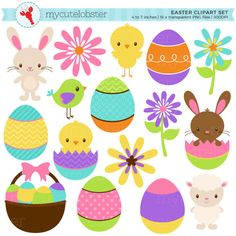 This clipart set includes 16 images which are illustrations of Easter animals, eggs and flowers. The images are approximately 4 to 7 inches in size.  DETAILS - Images are INDIVIDUALLY saved, high quality, 300 DPI, transparent PNG files. There will be no watermarks. - Images are provided in a ZIP file for ease of download. - Images will be available as an instant download. After confirmed payment, your download will be available via your Etsy purchases.  -------------------------  YOU MAY…