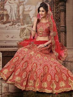Indian bride - Super look in red & golden lehnga