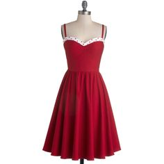 Vintage Inspired Long Spaghetti Straps Fit & Flare The Neyla Dress ($133) ❤ liked on Polyvore featuring dresses, red, modcloth, vestidos, red dresses, apparel, fashion dress, red fit and flare dress, long cocktail dresses and vintage style cocktail dresses