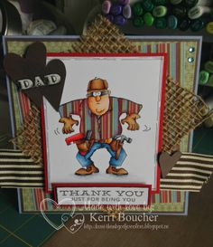 Art Impressions Ai Fathers Day Heroes  Weekend Warrior (Sku#4378) set.  Handmade masculine Father's Day thank you card.