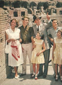 Jimmy Stewart with wife Gloria, sons Michael and Ronald and twins Judy and Kelly, in Italy circa 1960.