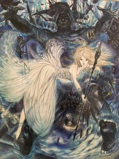 Final Fantasy Art, Fantasy Concept Art, Character Art, Character Design, Yoshitaka Amano, Book Aesthetic, Japanese Artists, Illustrations And Posters, Cover Art