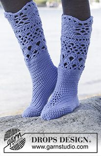 "Uplands - Crochet DROPS slippers with lace pattern in ""Nepal"". - Free pattern by DROPS Design"