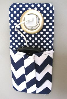 iPhone Cell Phone Pocket, iPod Touch, Smart Phone Wall Socket Charging Holder, Docking Station, Pouch, Blue Chevron