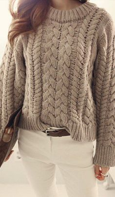 chunky cable knit sweater Sweater Cardigan, Chunky Cable Knit Sweater, Sweater Shop, Cardigan Fashion, Pullover Sweaters, Cozy Sweaters, Ugly Christmas Sweater Cute, Crochet Shirt, Sweaters For Women