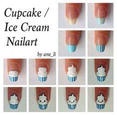 How to do ice cream nail art designs Cute Nail Art, Nail Art Diy, Easy Nail Art, Diy Nails, Cute Nails, Pretty Nails, Nail Art Cupcake, Diy Cupcake, Nails Decoradas