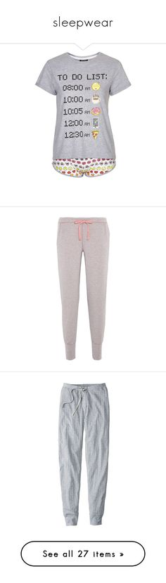 """sleepwear"" by emiliesprenger on Polyvore featuring intimates, sleepwear, pajamas, tops, shirts, pijamas, c-pajamas, grey, cotton pjs and cotton jersey"