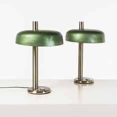italian job  pair of table lamps  brushed steel and lacquered metal  creation date: around 1970  h 65 x ø 40 cm ...