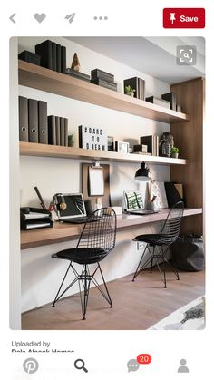 Want to have a comfortable home office to improve your productivity? Yaa, home office is a very important room. Here are some inspirations Home office design ideas from us. Hope you are inspired and enjoy . Home Office Space, Office Workspace, Home Office Design, Home Office Decor, Office Furniture, House Design, Home Decor, Office Shelf, Office Designs