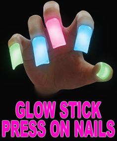 Glow Stick Press On Nails (Set Of 5). If only I were still in my 20's. Ha!