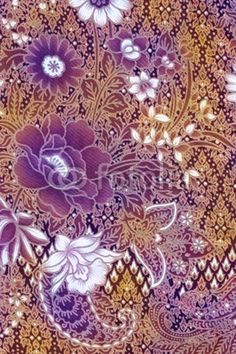 Golden Batik Sarong Purple Floral Motif Stock Photo (Edit Now) 18617455 Batik Pattern, Paisley Pattern, Pattern Art, Pattern Design, Indonesian Art, Textiles, Fabric Painting, Floral Motif, Background Patterns
