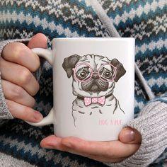 Hug A Pug Ceramic Novelty Mug  Holiday Christmas by LuckyDogAccess