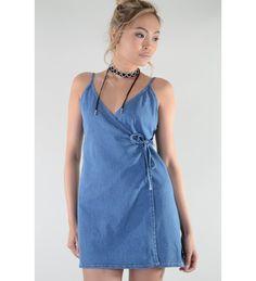 f1638825d82 Lovemystyle Short Sleeves Denim Wrap Around Dress Wrap Around Dress