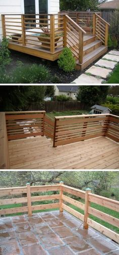 Deck railing isn't simply a security function. It can add a stunning aesthetic to mount a decked location or veranda. These 36 deck railing ideas show you how it's done! Horizontal Deck Railing, Wood Deck Railing, Deck Railing Design, Patio Design, Deck Railing Ideas Diy, Pergola Ideas, Patio Ideas, Backyard Ideas, Aluminum Deck Railing