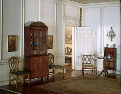 This is actually a dollhouse, but will serve nicely as inspiration for the interior descriptions. (Thorne Miniature Rooms - English Georgian Drawing Room, c.1800)