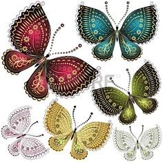 Set fantasy colorful vintage butterfly butterflies