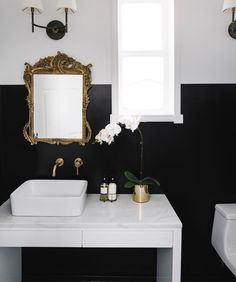 A monochrome bathroom is not hard to attain. It may give the room a luxury bathroom texture. Black and white bathroom does not have to be traditional. A black and white bathroom is a contemporary and classic style option, however… Continue Reading → Antique Gold Mirror, Black White Bathrooms, Bathroom Black, Small Bathroom, Bathroom Wall, Master Bathroom, Art Deco, Bathroom Inspiration, Bathroom Ideas