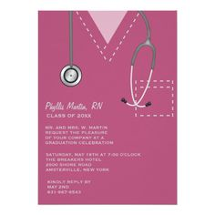 Scrubs Burgundy Medical Graduation Invitation.  Such a cute card for a nursing or medical school graduation! www.pixieprints.com