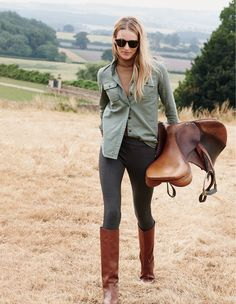 J.Crew military pocket shirt and field boots.