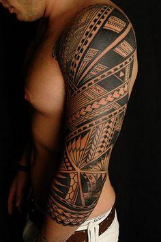 Ideas of Full Sleeve Tattoo: Polynesian Full Sleeve Tattoo ~ tattooeve.com Tattoo Design Inspiration