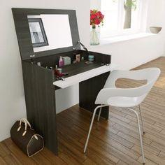 Girls Makeup Table Vanity Set Small Mirror Top Desk Bathroom Cabinet Ebony White #Nexera
