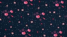 Navy Kitten Cat & Fishes Pink Flowers 100%  Cotton Half Metre Cute