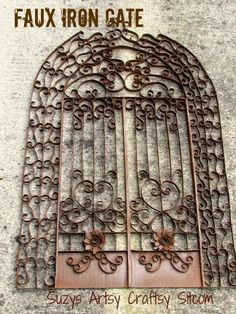 Feature Friday- Faux Iron Gate Tutorial / I could see this in sooo many places! Wall art, headboard, Halloween decorations! YOU WON'T BELIEVE WHAT IT'S MADE OF!