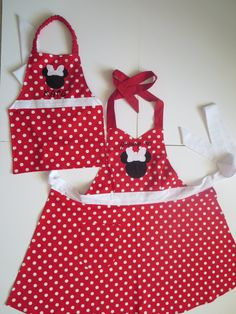 Conjunto de delantal de Minnie Mouse-madre e hija