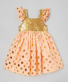 Look at this Coral & Gold Sequin Angel-Sleeve Dress - Infant, Toddler & Girls on #zulily today!