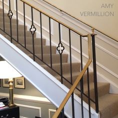 Quatrefoil stairway at Chaddock Showroom- High Point Stairs And Doors, Entryway Stairs, House Stairs, Banisters, Stair Railing, Railings, Banister Ideas, Private Jet Interior, High Point Furniture